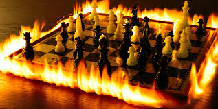 chessboard on fire