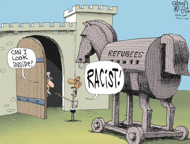 refugee cartoon